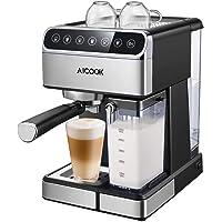 Aicook Machine à Café Automatique,15 BarCafetiereExpresso avec Écran Tactile LCD et Mousseur à Lait Inox, Cappuccino et latte, Fonction Auto-nettoyage, 1.8L Amovible Réservoir D'eau, 1350W