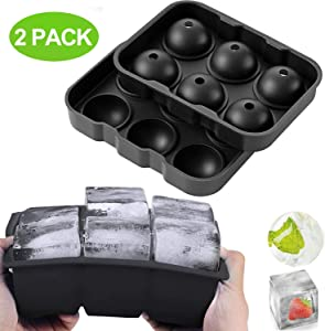 Ice Cube Trays,Silicone Sphere Ice Ball Maker with Lids & Large Square Ice Cube Molds for Whiskey and Cocktails,Big Ice Cube Tray with Funnel,Set of 2 (Black)