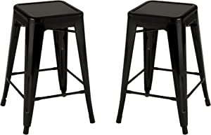 "Norwood Commercial Furniture NOR-IAH3022-BL-2-SO 24"" Seat Heigt Metal Tolix Style Industrial Stack Stool, Black (Pack of 2)"