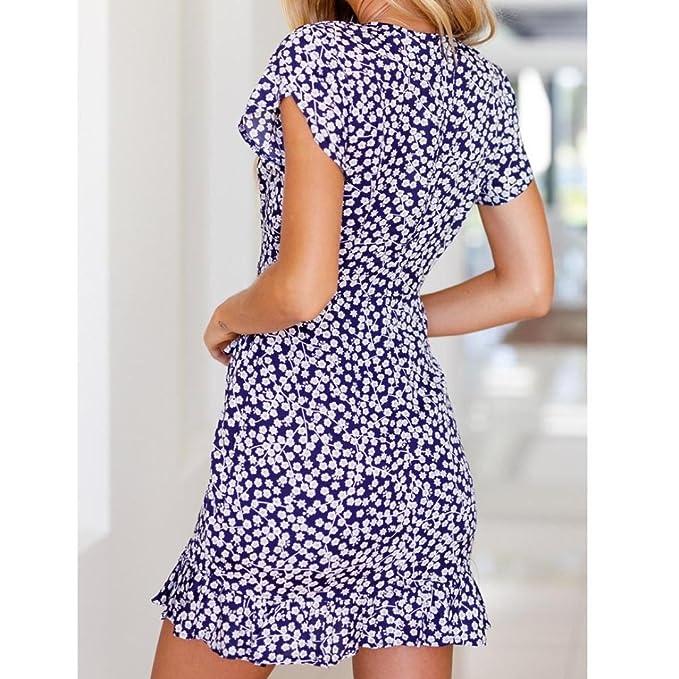 Vestido de fiesta mujer, Amlaiworld Sexy Mini Vestido de fiesta de noche de verano de manga corta de impresión floral para mujer vestido de playa: ...
