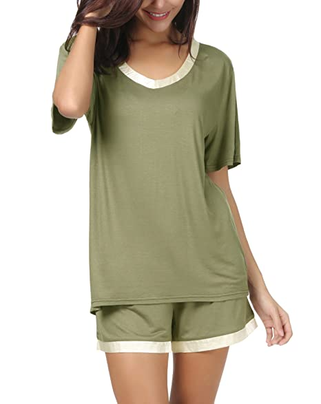 Invug Women Short Sleeve T Shirt and Shorts Pajamas Sleepwear Set  Loungewear Army Green S a6f3aa27f
