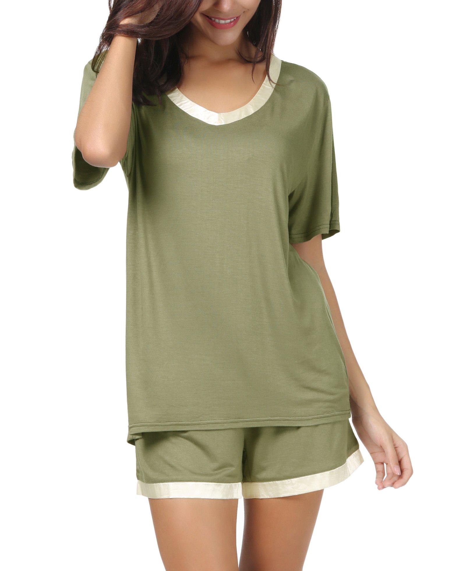 Invug Women Short Sleeve T Shirt and Shorts Pajamas Sleepwear Set Loungewear Army Green S