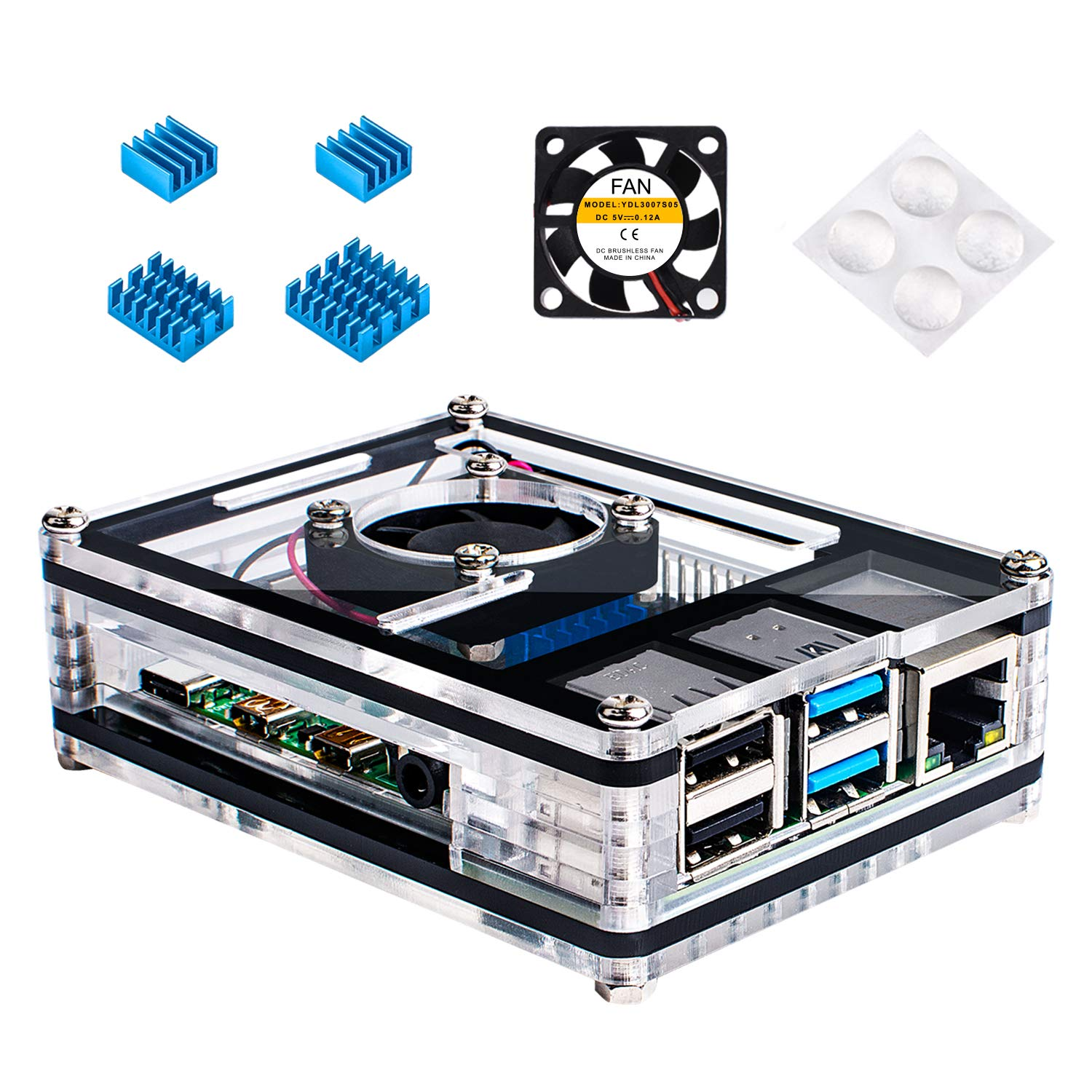 Miuzei Case for Raspberry Pi 4 with Fan, 3 x Heat-Sinks for Raspberry Pi 4 Model B- Black/Clear (Pi 4 Board Not Included)