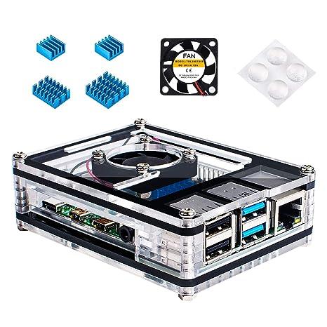 Miuzei Raspberry Pi 4 Carcasa con Ventilador de ...