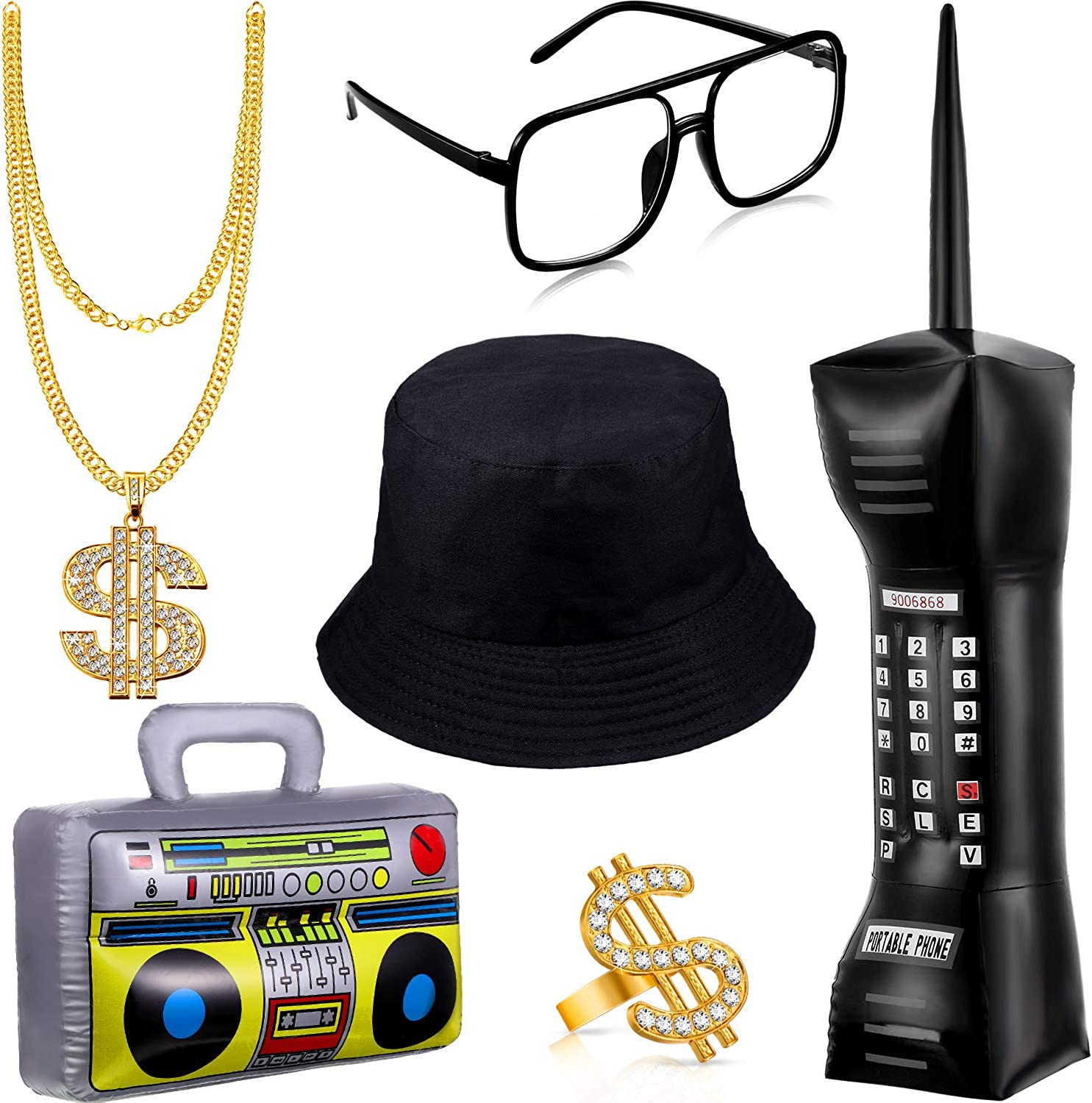 6 Pieces 80s/90s Hip Hop Costume Kit Inflatable Radio Boom Box Mobile Phone Necklace Ring Sunglasses Bucket Hat Rapper Accessories