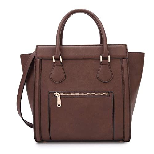 Dasein Women's Satchel Handbags and Top Handle Purses Shoulder Bags Vegan Leather Tote for Ladies Coffee best stylish purses for fall
