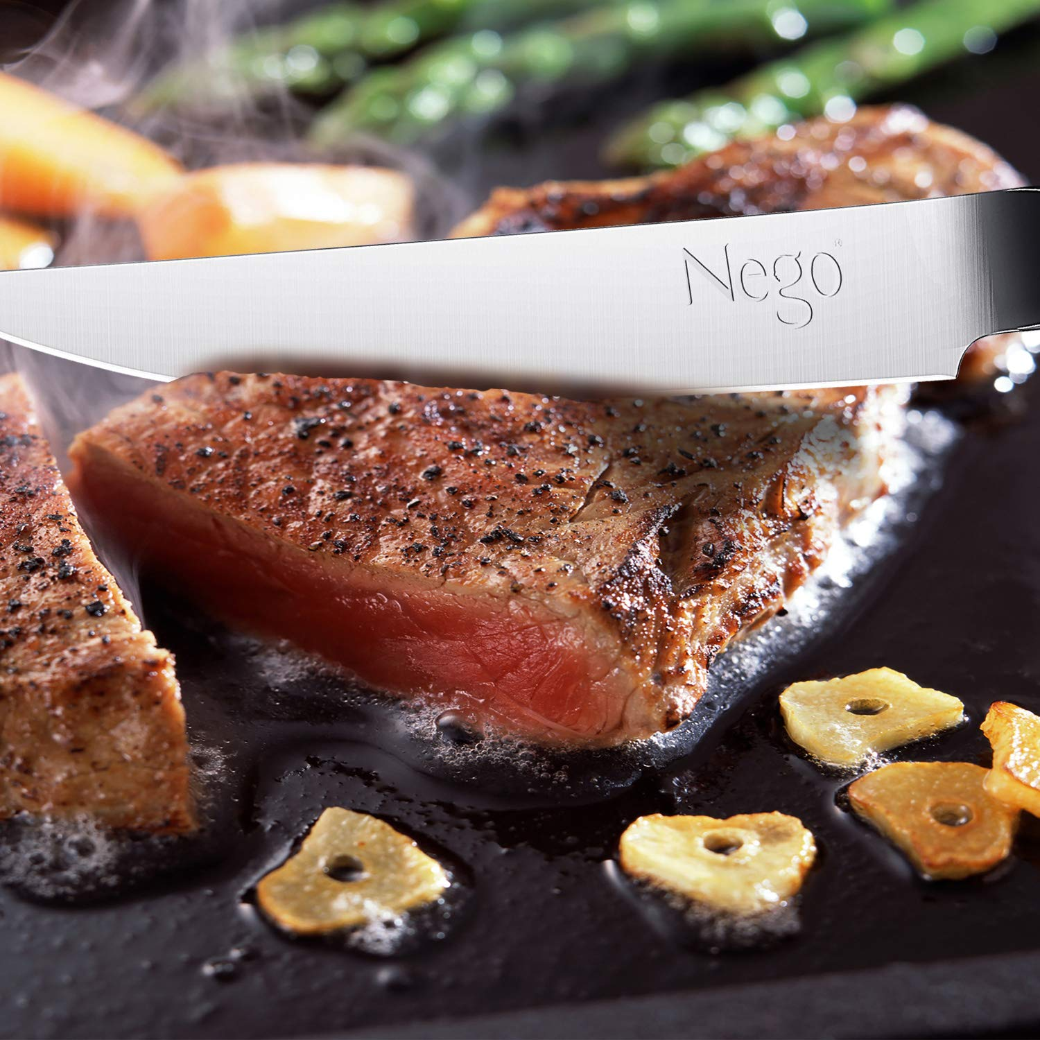 Steak Knives - 6Piece Steak Knife Set, 4.5 Inch Edge Blade Pointed Tip Table Knife German HC Stainless Steel Razor Sharpness Rust Protection Lightweight Neatly Slicing Classic Kitchen Cutlery by Nego (Image #3)