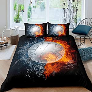Erosebridal Boys Volleyball Duvet Cover Sports Games Bedding Set Twin Size Fire Water Ball Themed Comforter Cover 2 Pieces with 1 Pillowcase Kids Youth Teens Bedroom Decor Quilt Cover,Black