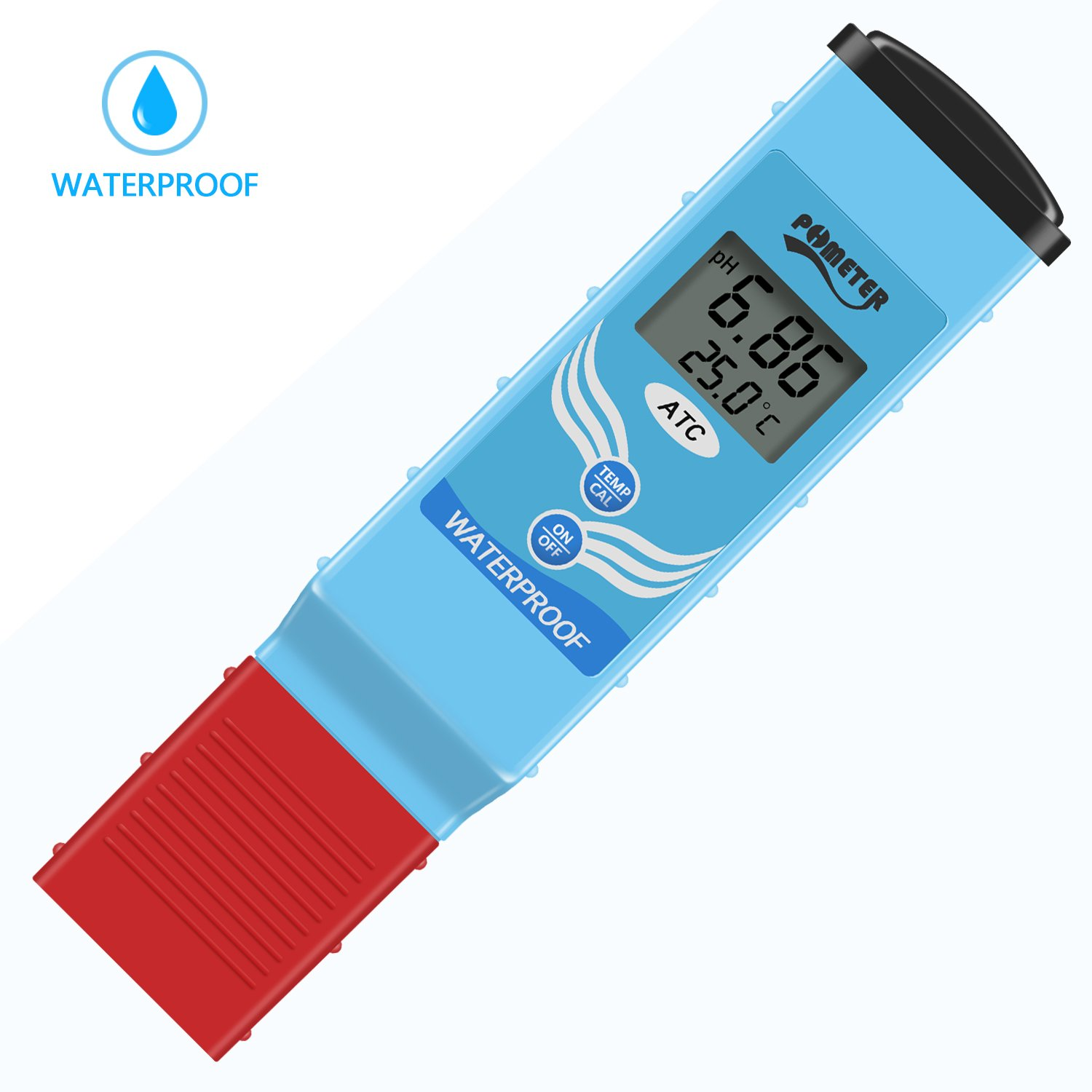 Digital pH Meter, Jellas PH-097 Top-Rated Waterproof pH/Temperature Tester for Water Quality Test - Dual Level LCD Display/Auto Calibration/ATC Function