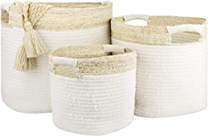 LA JOLIE MUSE Cotton Rope Storage Baskets with Corn Skin Detailing, Stackable Natural Multipurpose Organizer Bins, Home Decor Gift, Set of 3