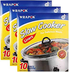 WRAPOK Slow Cooker Liners Cooking Bags BPA Free for Oval or Round Pot, Large Size 13 x 21 Inch, Fits 3 to 8.5 Quarts - 3 count (30 Bags Total)