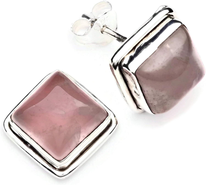 Pendientes de plata 925 con cuarzo rosa 11 mm11 mm (No: MOS 72)