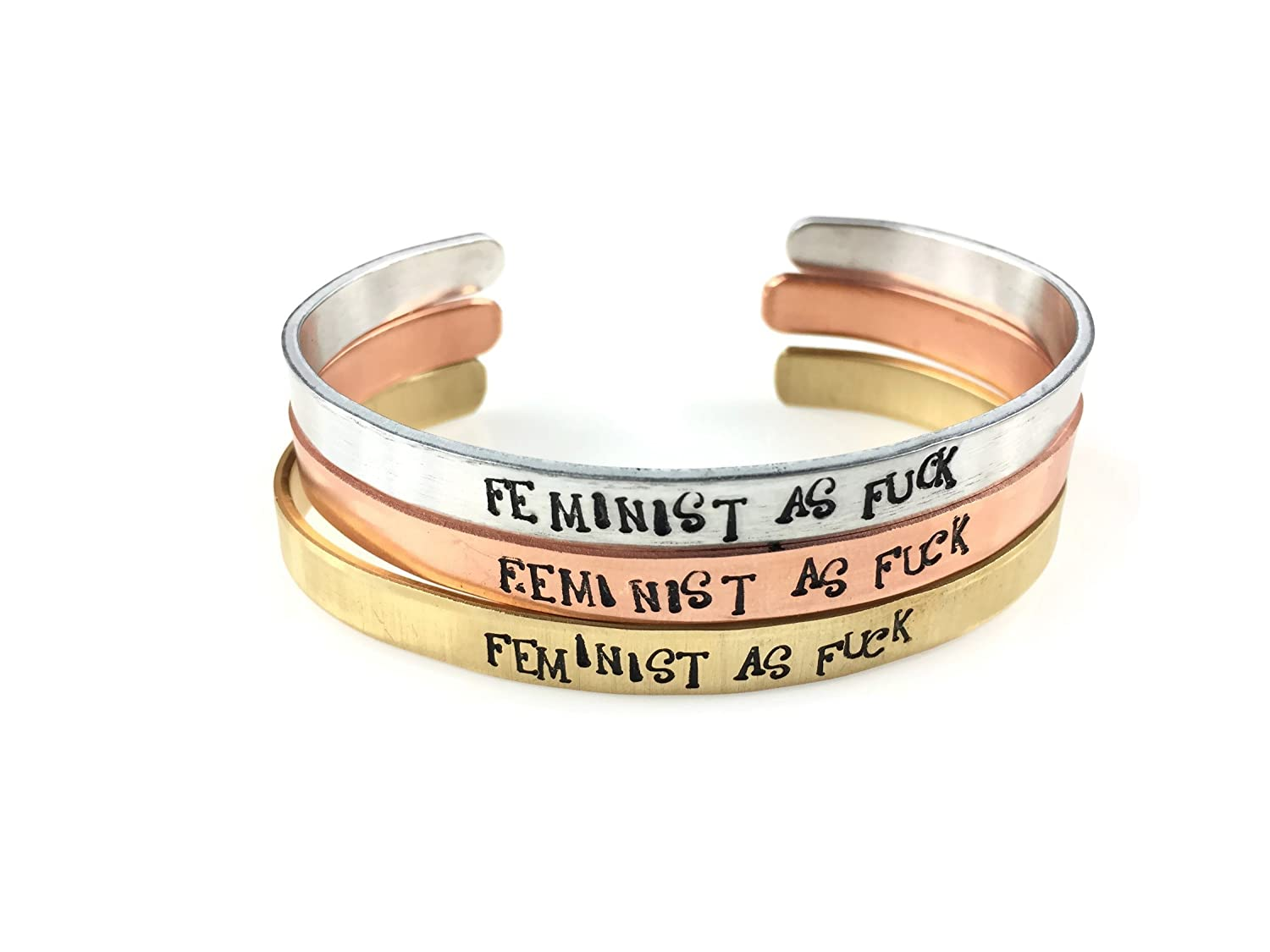 Feminist As Fuck Cuff Bracelet (4 Metal Choices)