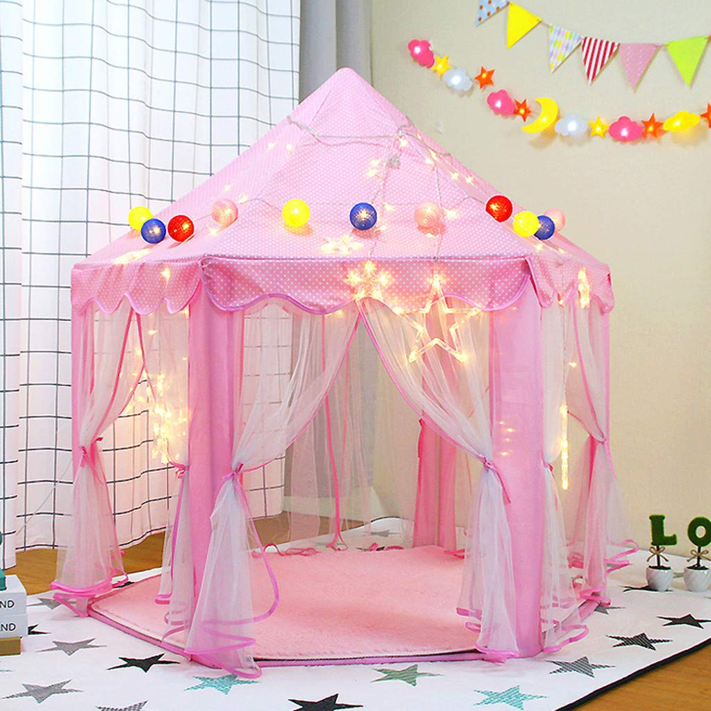 Toonshare Tents 55'' x 53'' Princess Tent with 8.2 Feet Girls Large Playhouse Kids Castle Play Tent for Children Indoor and Outdoor Games by Toonshare Tents