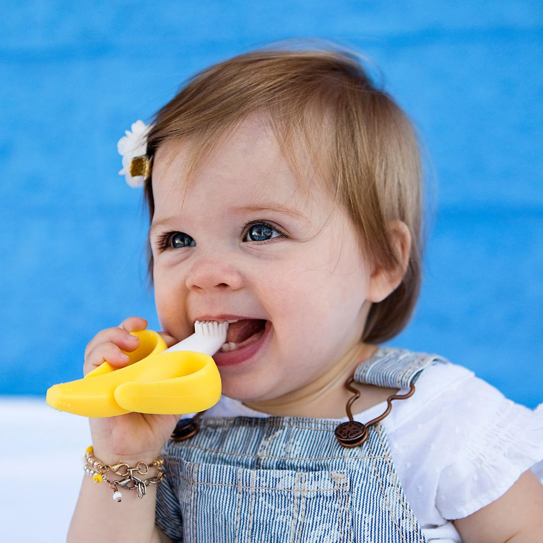 Baby Banana - Yellow Banana Toothbrush, Training Teether Tooth Brush for Infant, Baby, and Toddler : Baby