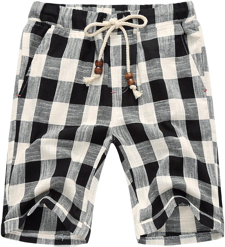 sandbank Men's Summer Lounge Linen Drawstring Linen Plaid Jogger Beach Shorts