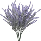Bouquet di fiori di lavanda artificiale floccata per matrimoni, fai da te, pavimenti, giardini, uffici; 4 pz, colore viola Purple