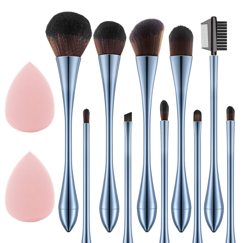 10pcs Makeup Brush Set with 2 Sponge Blenders, Eyeshadow Brushes Shader Blending, Foundation Brush Power Kabuki, Blush, and Concealer