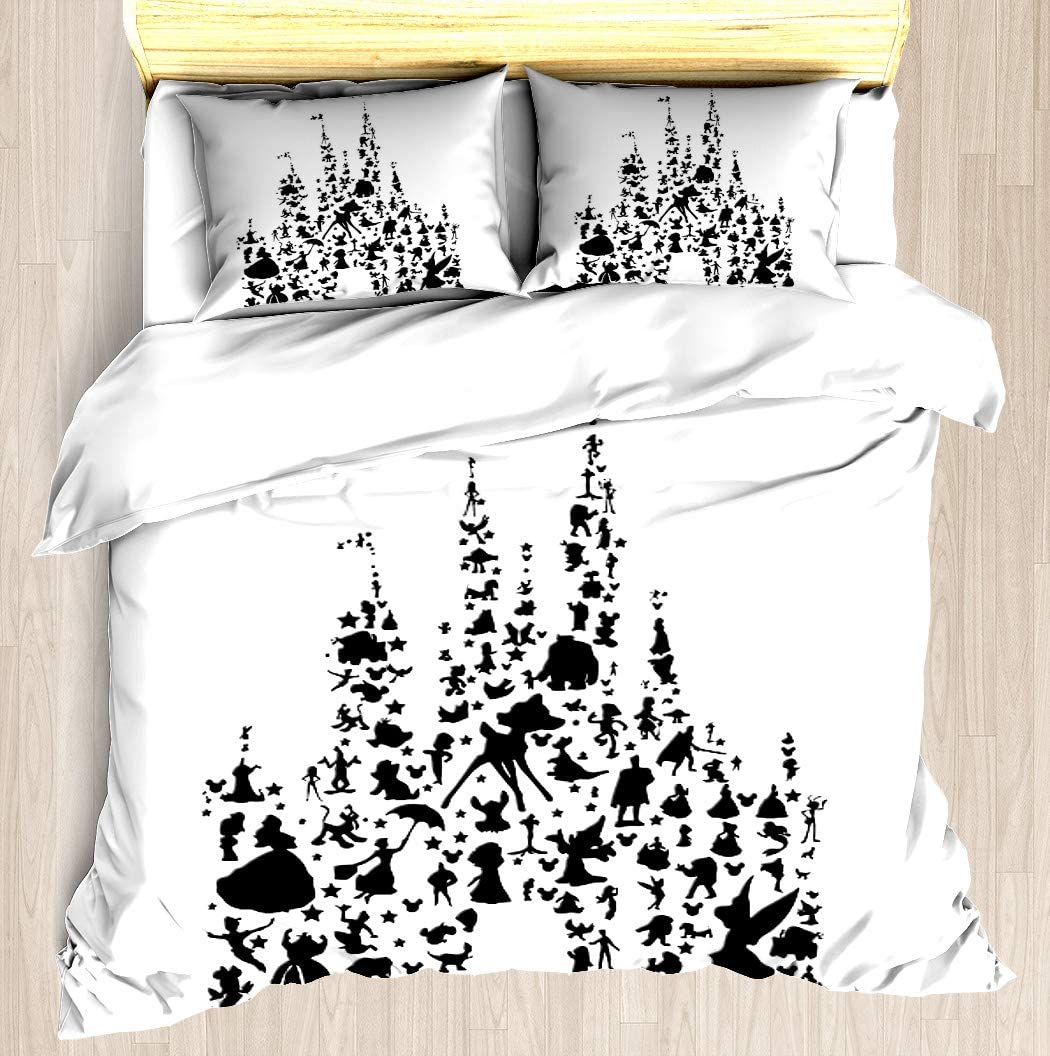 NTCBED Happiest Castle On Earth - Duvet Cover Set Soft Comforter Cover Pillowcase Bed Set Unique Printed Floral Pattern Design Duvet Covers Blanket Cover Queen/Full Size
