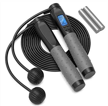 Adjustable Exercise Speed Skipping Rope Workout Jump Rope for Adults Fitness Women Kids and Girls Training Fitness for Indoor and Outdoor Digital Weighted Workout cordless Jump Ropes with Calorie Counter Jump Rope