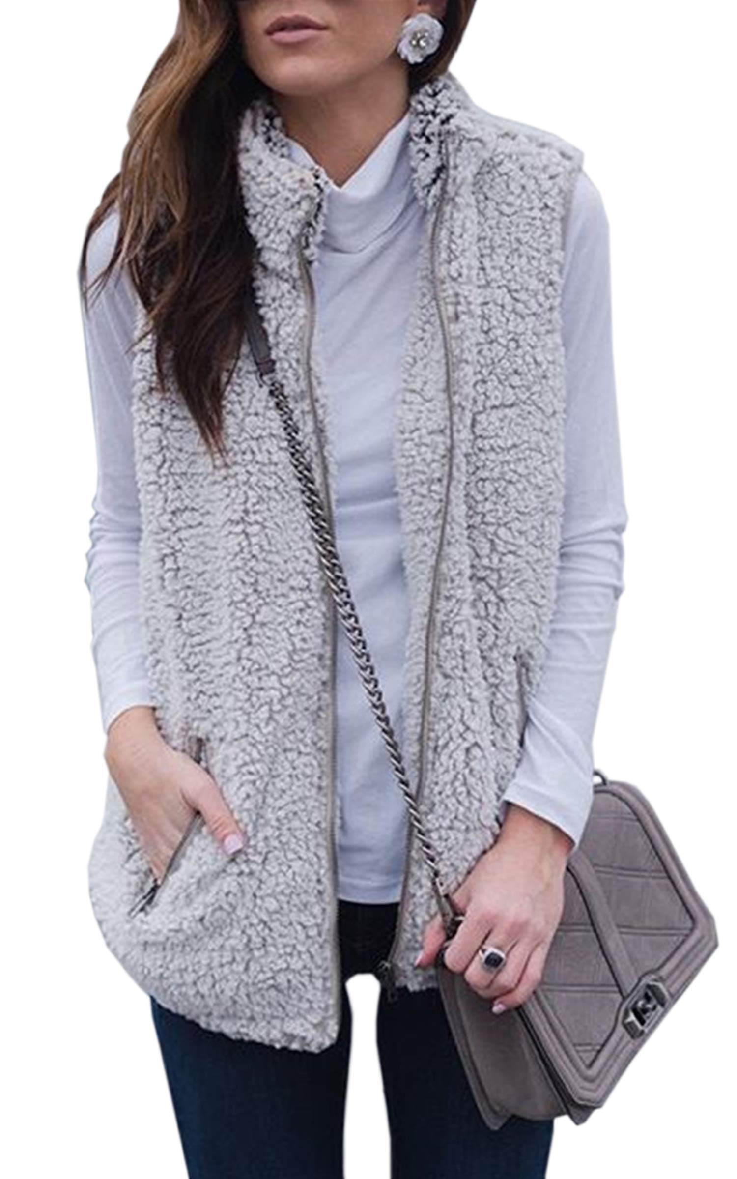 Hibluco Women's Zip up Fleece Vest Coat Pockets