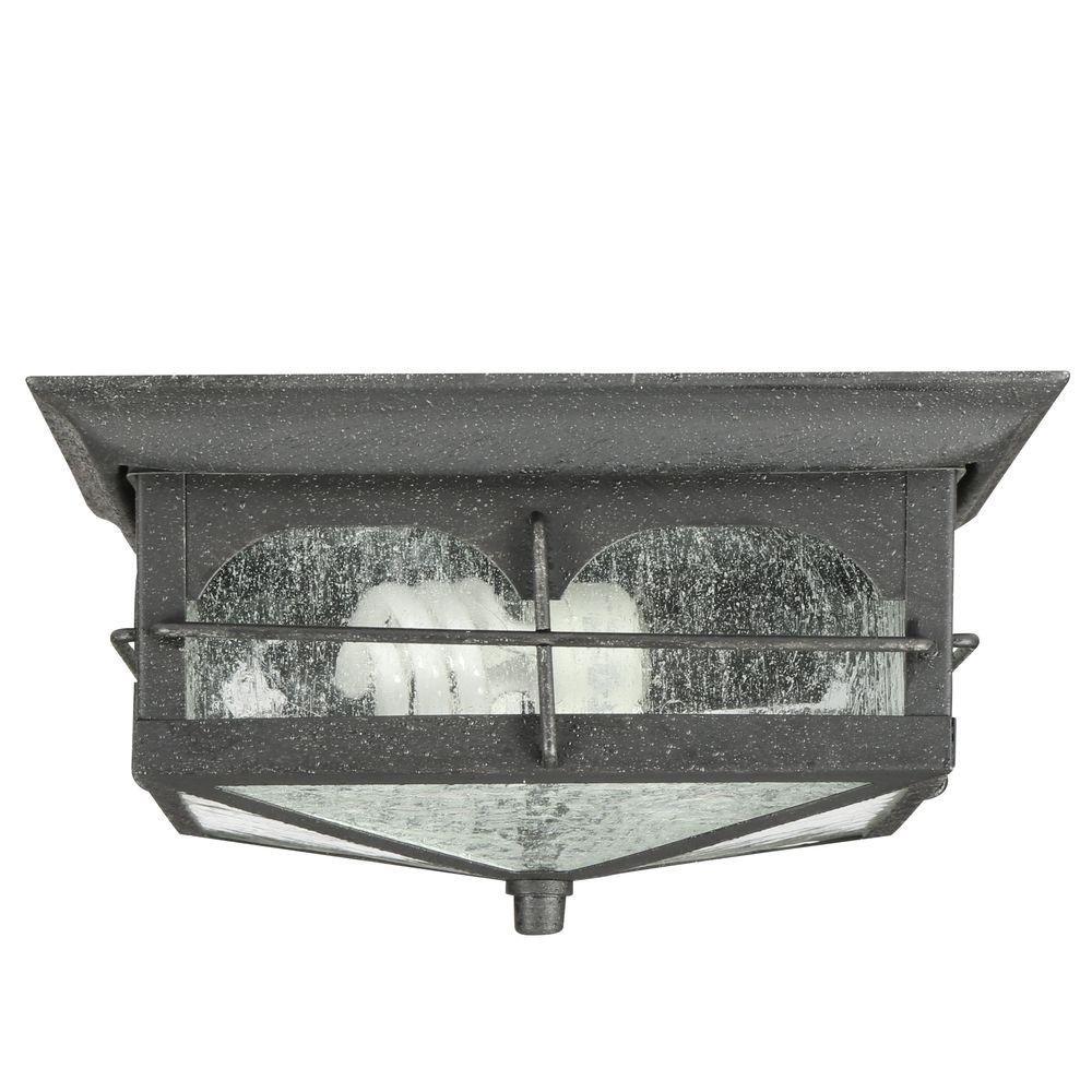 Home Decorators Collection Flushmount 2-Light Outdoor Aged Iron Lantern