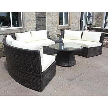De exterior de mimbre redondo esquina sofá y mesa, color marrón: Amazon.es: Jardín
