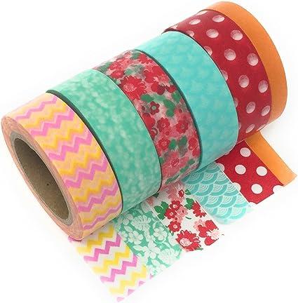 scelta di disegni e colori Green adesivo decorativo rotolo da 15 mm x 10 m Washi tape