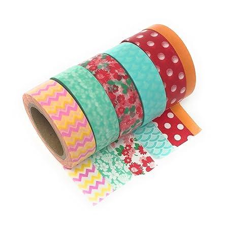 6 papierrollen washi tape je 10m lang perfekt zum basteln fur scrapbooks und geschenkkarten amazon de burobedarf schreibwaren
