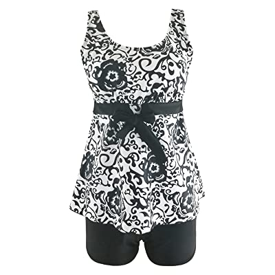138ab3cae16ee Zando Women s Plus Size Bathing Suits Halter Pin up Tankini Sets Paisley  Print Two Piece Swimsuit
