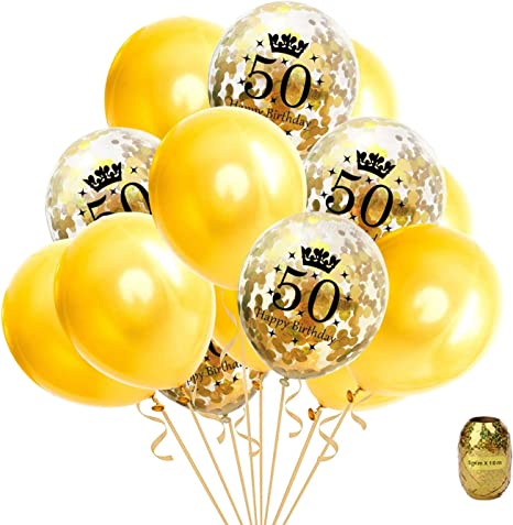 16 Gold Latex Balloons Large Party Helium Air Birthday Wedding Anniversary Decor