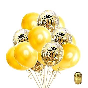 Globo de oro de la fiesta de cumpleaños de 16 piezas, Globos de confeti Globo de látex impreso con feliz cumpleaños y número de 50,12 pulgadas ...