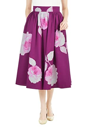 a71a0619a7 eShakti Women's Custom Floral applique poplin midi skirt 6X-36W Deep orchid  multi