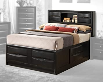 contemporary storage bed with bookshelf cal king 9675 in l x 76 in - California King Bed Frame With Storage