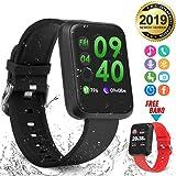 Reloj Inteligente, Hombre Smartwatch Monitor de Ritmo cardíaco, IP67 Reloj de Seguimiento de Ejercicios a Prueba de Agua con Contador de Pasos, Contador de calorías, Podómetro para Mujeres
