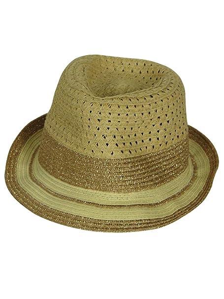 Collection Eighteen Women s Metallic Trim Straw Fedora Hat (Sun Tan ... 47996d77729