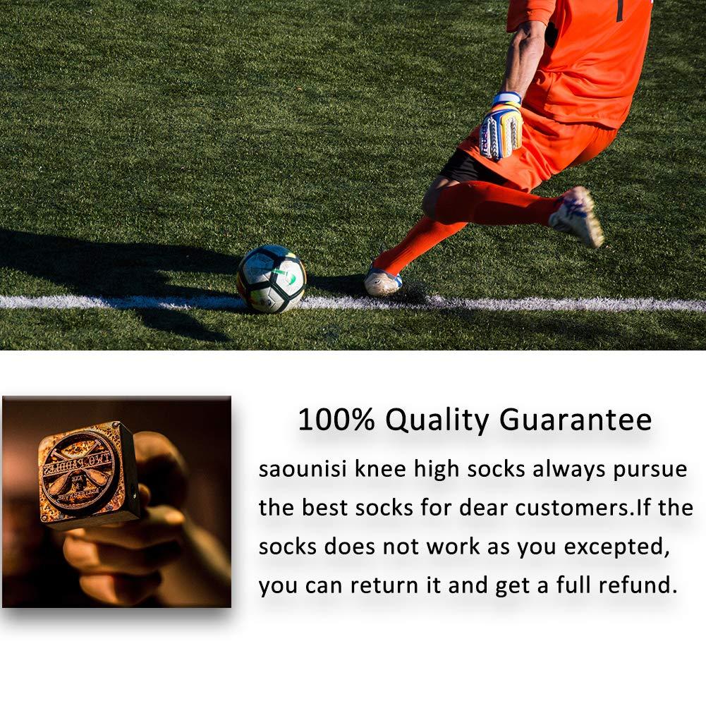 saounisi Men Knee High Socks ,2 Pairs Football Baseball Soccer Sports Tube Long Working White Stripe Socks Size 9-13 Green by saounisi