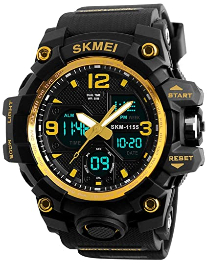 Mastop Mens Digital Waterproof Sports Watch Military Multifunction Dual Time Stopwatch Light LED Watch (Gold