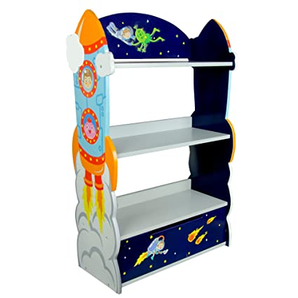 Svitlife Fantasy Fields Blue And Yellow Wooden Outer Space Bookshelf Bookcase Shelf Storage Wood Shelving