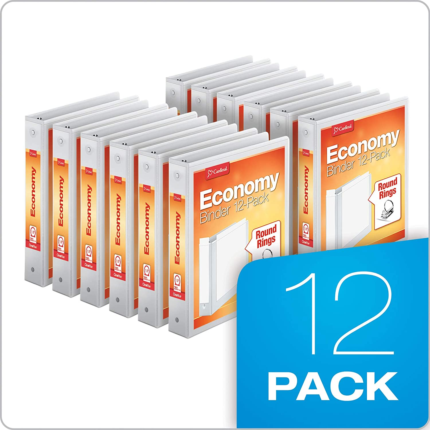 "Cardinal Economy 3-Ring Binders, 1.5"", Round Rings, Holds 350 Sheets, ClearVue Presentation View, Non-Stick, White, Carton of 12 (90631): Office Products"