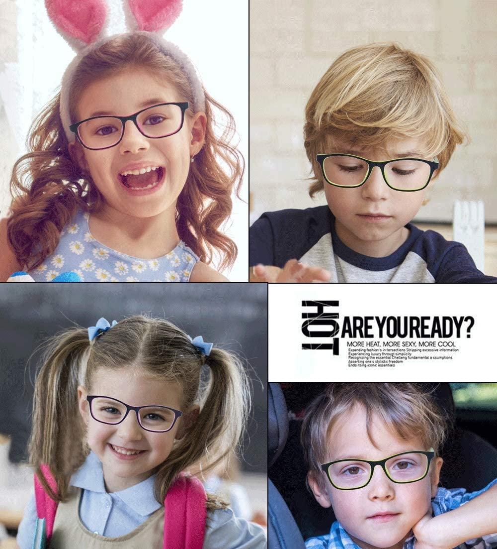 ALWAYSUV Kids Teens Blue Light Blocking Glasses with Anti-Glare,Cut UV400 Transparent Lens,Computer Reading Glasses Black