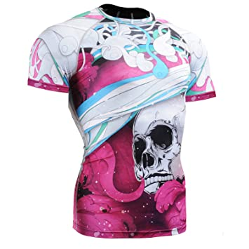 "FIXGEAR ""THE SKELETON"" PINK - camiseta tecnica compresion manga corta (UNISEX HOMBRE"