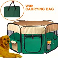 """Free Paws Portable Octagon 46.5""""(D) x 30""""(H) 600D Dog Cat Pet Playpen Mosquito Nets Play Pen w/Extra Carrying Bag & Removable Ground Sheet & Removable Roof Mesh Net & Steel Anchors"""