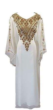 Caftan marocain Takchita Faracha Robe Orientale Dubai (Blanc cassé) 151372a7fa8