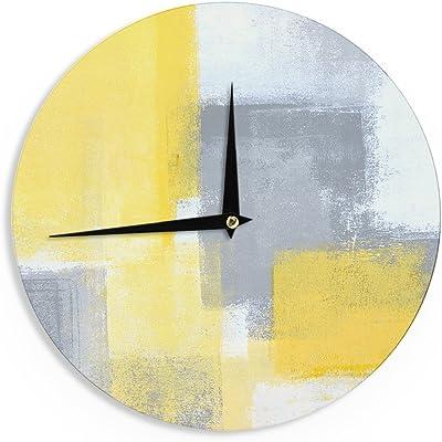 "KESS InHouse CarolLynn Tice ""Steady"" Yellow Gray Wall Clock, 12"""