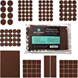 Felt Furniture Pads for Protecting Hardwood Floors by No Sweat DIY - Set of 137 Heavy Duty Self Stick Adhesive Pads for Chairs Legs and Dining Table. Dark Brown Premium Pads That Don't Slip Off