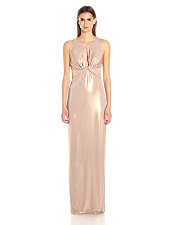 35ab1bbd73f Halston Heritage Women s Sleeveless Round Neck Metallic Jersey Gown Front  Keyhole