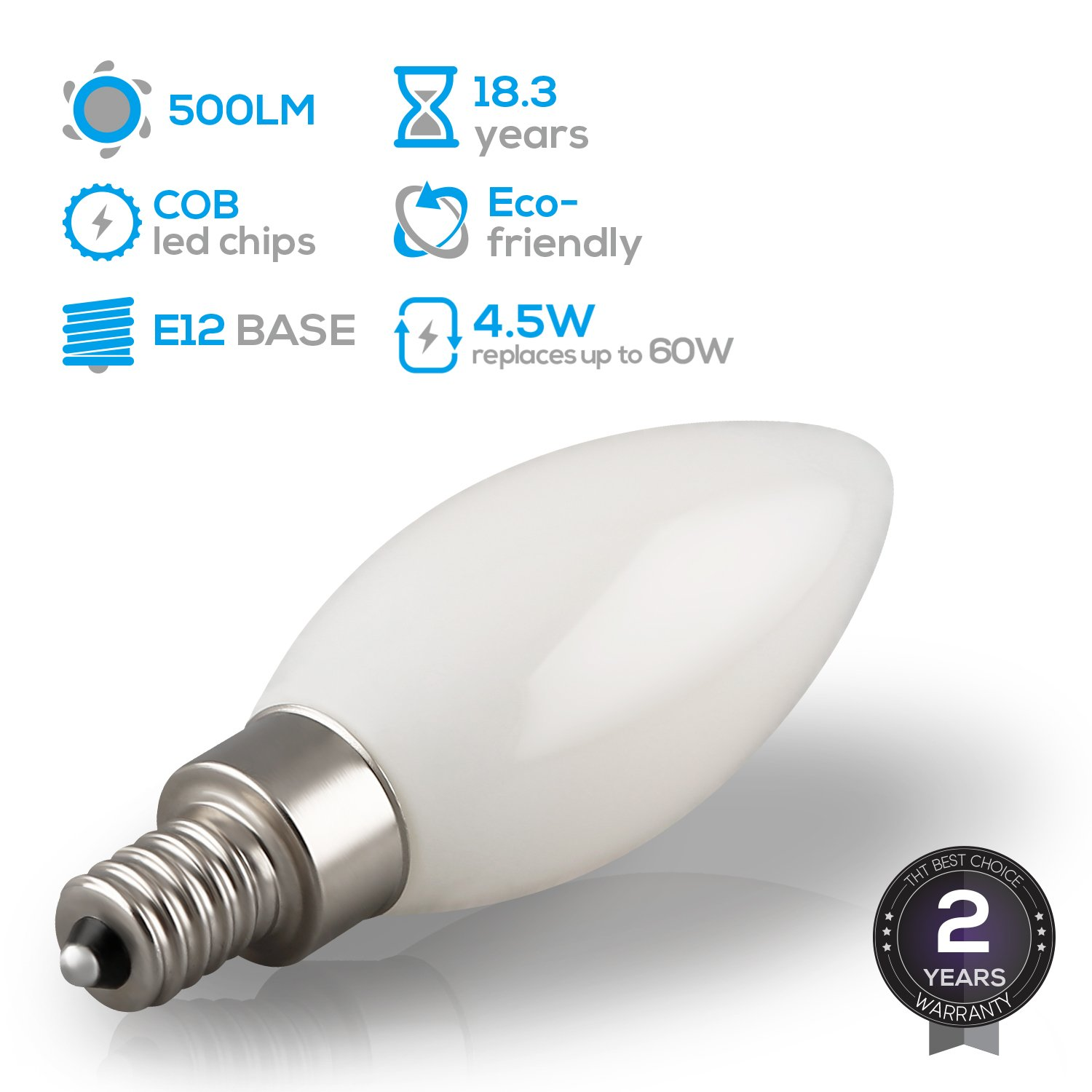 Amazon led dimmable frosted glass filament candelabra bulb amazon led dimmable frosted glass filament candelabra bulb 45w 60w equiv c11 decorative milky candle bulb ul listed 2700k soft white 500lm arubaitofo Image collections