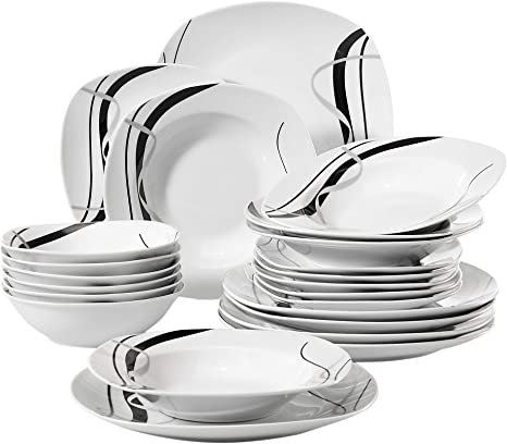 Veweet 24 Piece Porcelain Dinnerware Sets Black Stripe Patterns Kitchen Dinner Soup Plate Sets Service For 6 Fiona Series Amazon Ca Baby
