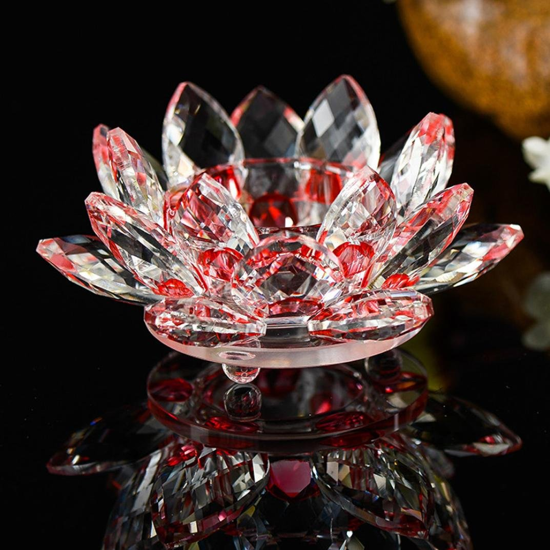 Amazon Efaster 7 Colors Glass Crystal Lotus Candlestick Bowl